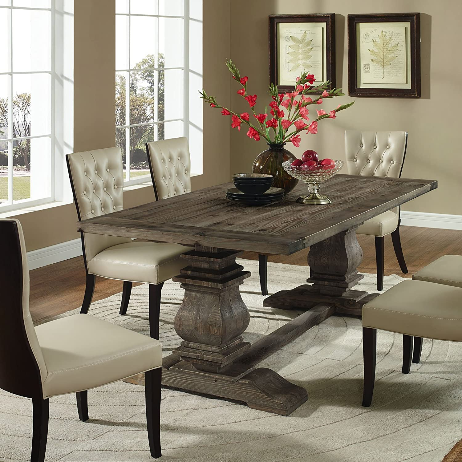 Amazon Modway Column Wood Dining Table In Brown Kitchen