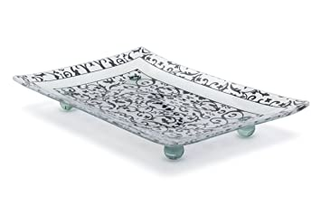 Florentine Designed Charcoal Tempered Glass Rectangular Serving Tray On Glass Ball Legs Unbreakable Chip Resistant