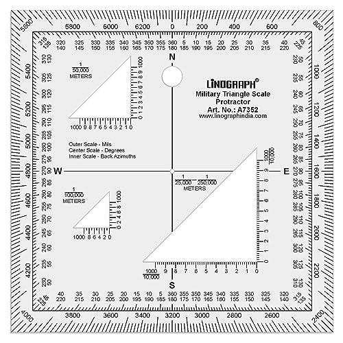 Linographe Carte acrylique claire Lecture Militaire Triangle Protractor 5 x 5 Pouces