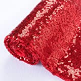 Pardecor Sequin Fabric by The Yard Red 1 Yard Sparkly Fabric Mesh Sequins Fabric for Sewing Clothing and Making Tablecloth Ta