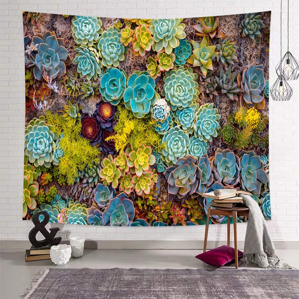 Sevendec Succulent Plants Tapestry Green Blue Yellow Flower Colorful Tapestry Wall Hanging for Livingroom Bedroom Dorm Home Decor W59 x L51