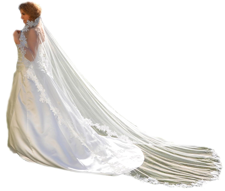 Unbekannt Schleier 280 cm Brautschleier 1 Lage Feint/üll Kamm Perlen Hochzeit Braut Kapelle Spitze