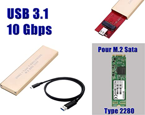 KALEA-INFORMATIQUE – Caja M2 A USB3.1 (Ancho de Banda 10 Gbps) – para SSD M.2 NGFF AU Formato 2280 y de Tipo SATA B Key (o B + M Key): Amazon.es: Informática