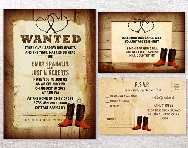 Amazon Com Cowboy Western Rustic Country Themed Wedding Invitations
