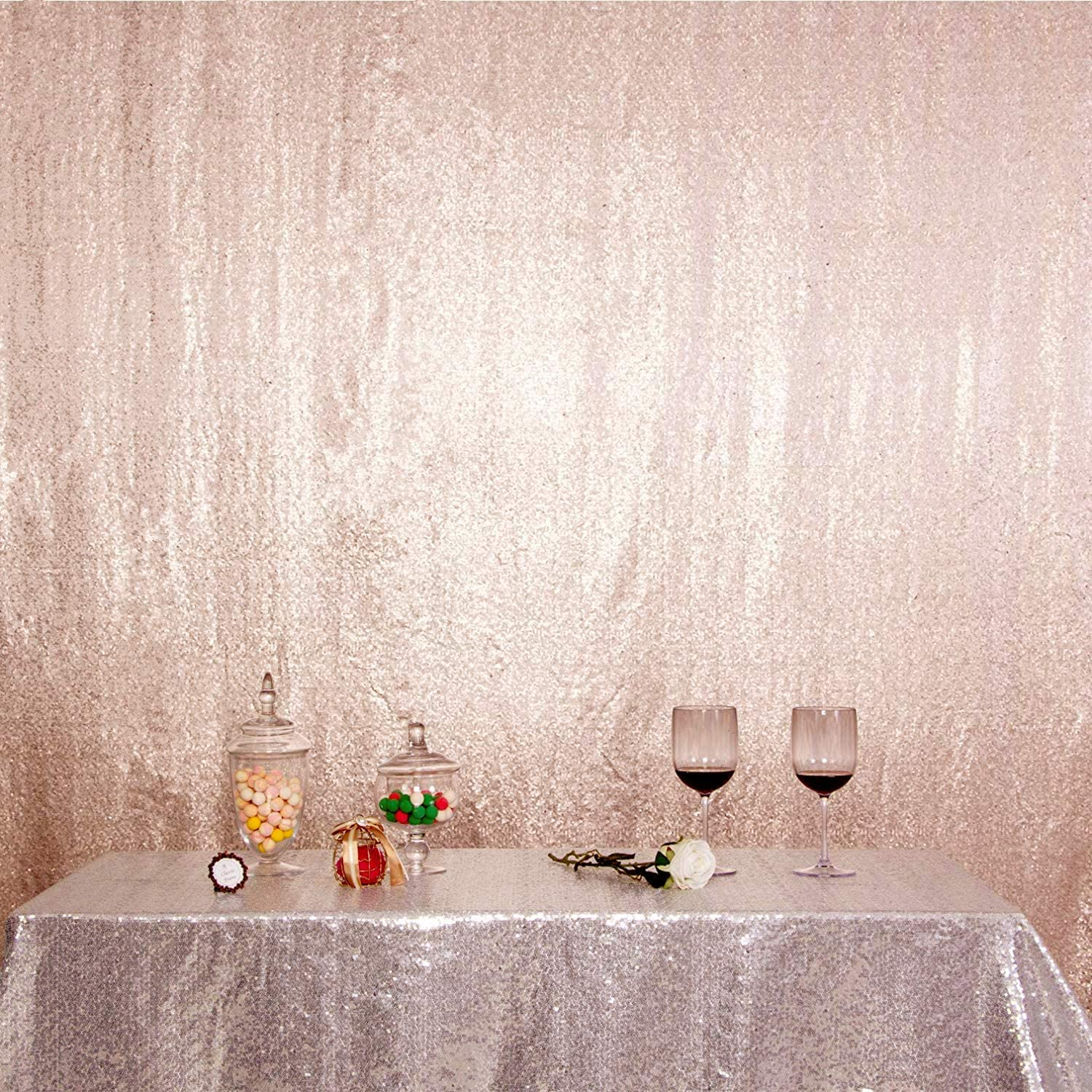 4ft x 7ft, Rose Gold Non-Transparent Backing for Party Decoration, Poise3EHome Sequin Photography Backdrop Curtain with Non See-Through