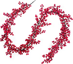 TURNMEON 6 Foot Christmas Red Berry Garland Christmas Decorations 756 Red Berry Thick 108 Branch Wreath Xmas Decoration Indoor Outdoor Home Mantle Fireplace Holiday Christmas Tree Decor