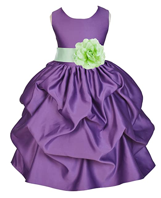 f82cb1d5b70 ekidsbridal Satin Pick-Up Purple Flower Girl Dresses Princess Dresses Ball  Gown Birthday Girl Dresses
