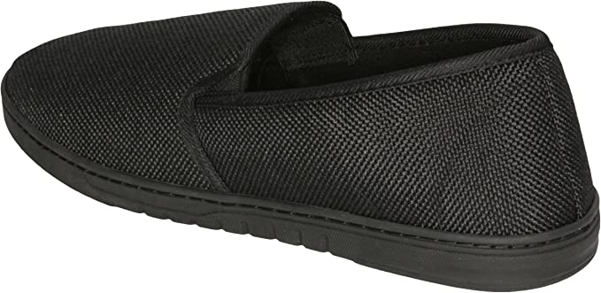 9-10 D Deluxe Comfort Mens Slip-On Firm Linen Vamp+Terry Lining+120Sbr Insole+Strong Rubber Outsole Slipper 1 lb Black US M