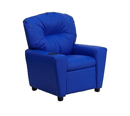 Admirable Contemporary Blue Vinyl Kids Recliner With Cup Holder Bt 7950 Kid Blue Gg Machost Co Dining Chair Design Ideas Machostcouk