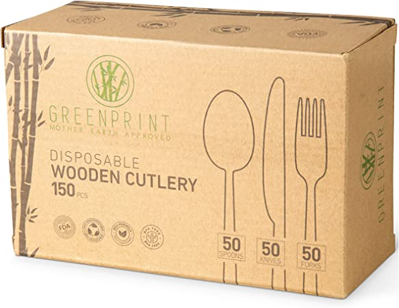 Amazon Com Greenprint Disposable Wooden Cutlery Sets 150 Piece Total 50 Forks 50 Spoons 50 Knives 6 Inch Length Ecological Biodegradable Compostable Wooden Utensils Wooden Cutlery Kitchen Dining