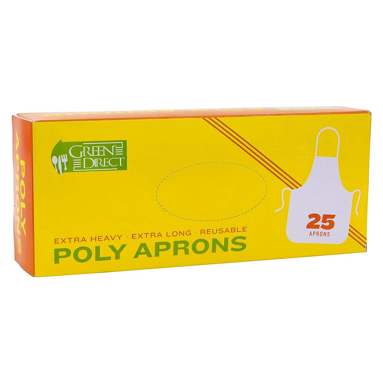 Verde directo plástico reutilizable resistente poliéster delantales para las mujeres y hombres, 25 unidades), color blanco: Amazon.es: Hogar