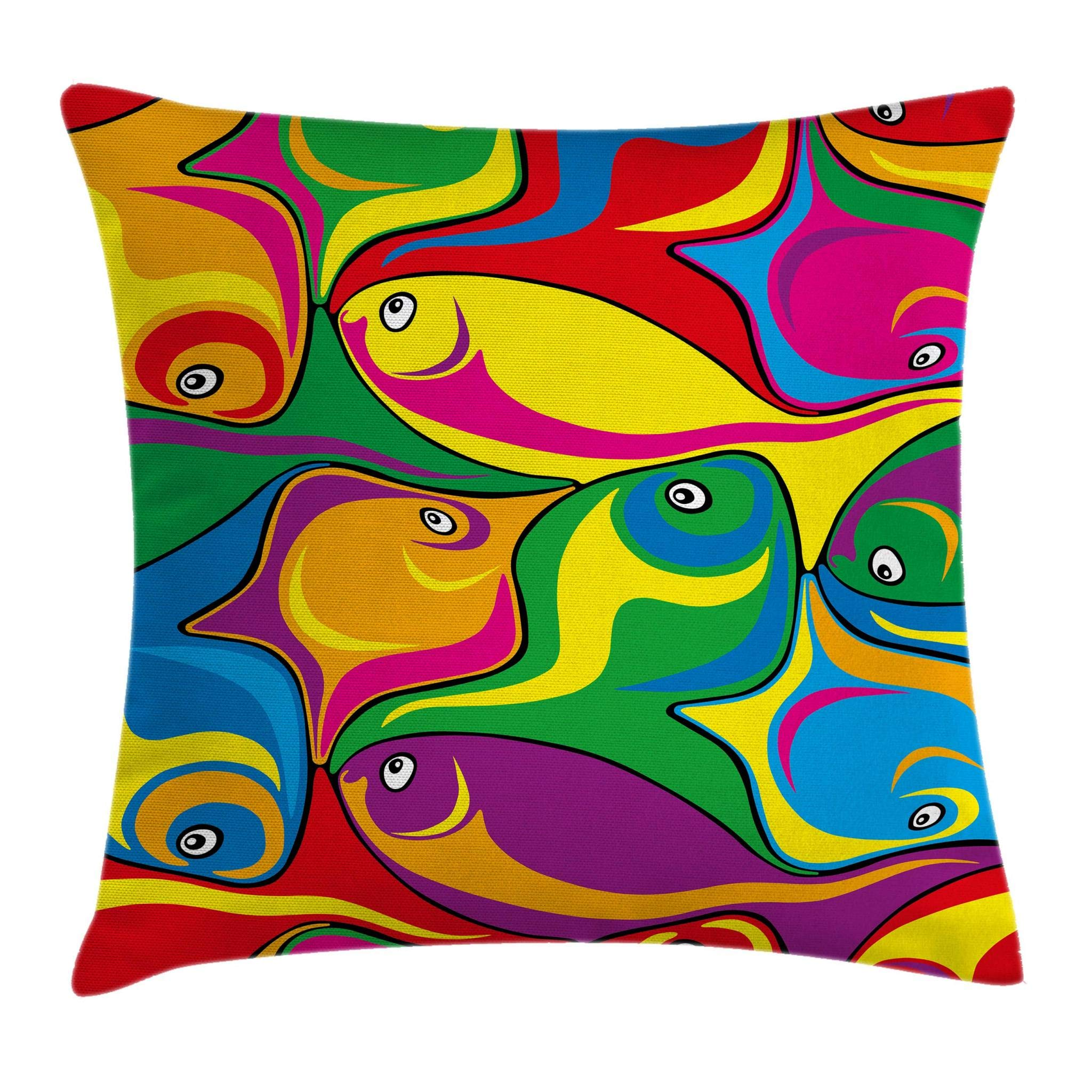 Ambesonne Cartoon Decor Throw Pillow Cushion Cover, Fish Pattern in Mixed Fluid Vibrant Colors Childish Funny Comic Kids Nursery Theme, Decorative Square Accent Pillow Case, 18 X 18 Inches, Multi