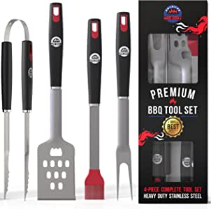 AMERICAN BBQ GRILL Tools - Premium Grilling Set - 4 Piece Utensils: Spatula, Tongs, Fork and Basting Brush - Heavy Duty Stainless Steel Barbecue Accessories - Him - 10 Year Warranty