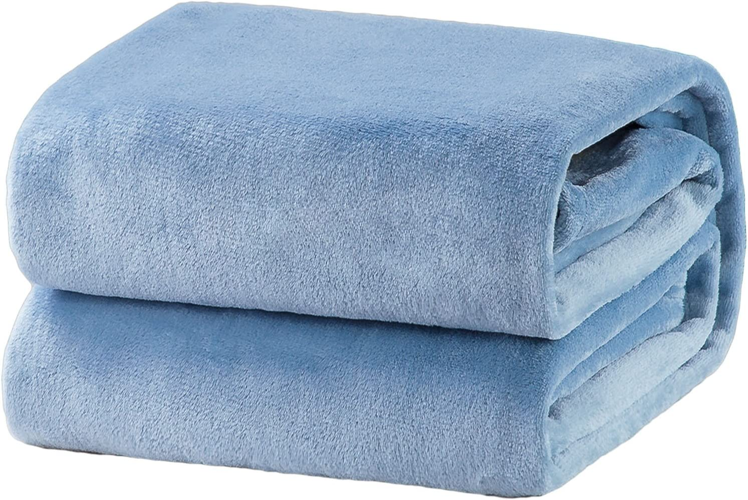 Bedsure Fleece Blanket King Size Washed Blue Lightweight Super Soft Cozy Luxury Bed Blanket Microfiber