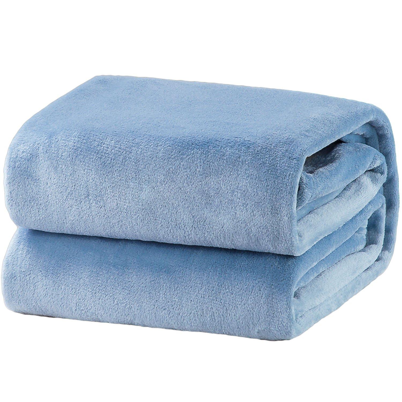 Bedsure Fleece Blanket Twin Size Washed Blue Lightweight Blanket Super Soft Cozy Microfiber Blanket