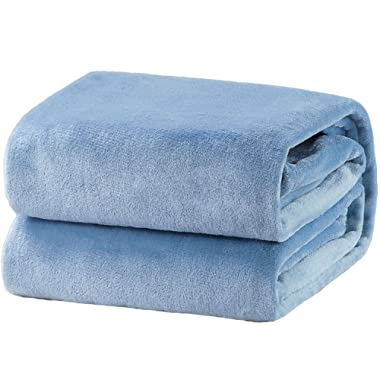 Bedsure Flannel Fleece Luxury Blanket Washed Blue Throw Lightweight Cozy Plush Microfiber Solid Blanket