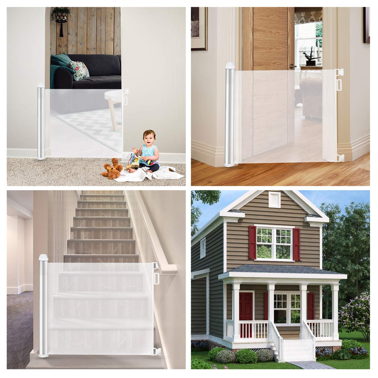 Baby Retractable Mesh Gates, Extra Wide Safety Gate/Pet Dog Gate Replacement for Stairs/Door/Stairway - Flexible Extension Waterproof Rustproof Aluminum White Protect Toddlers (Silver White) by PRObebi (Image #3)