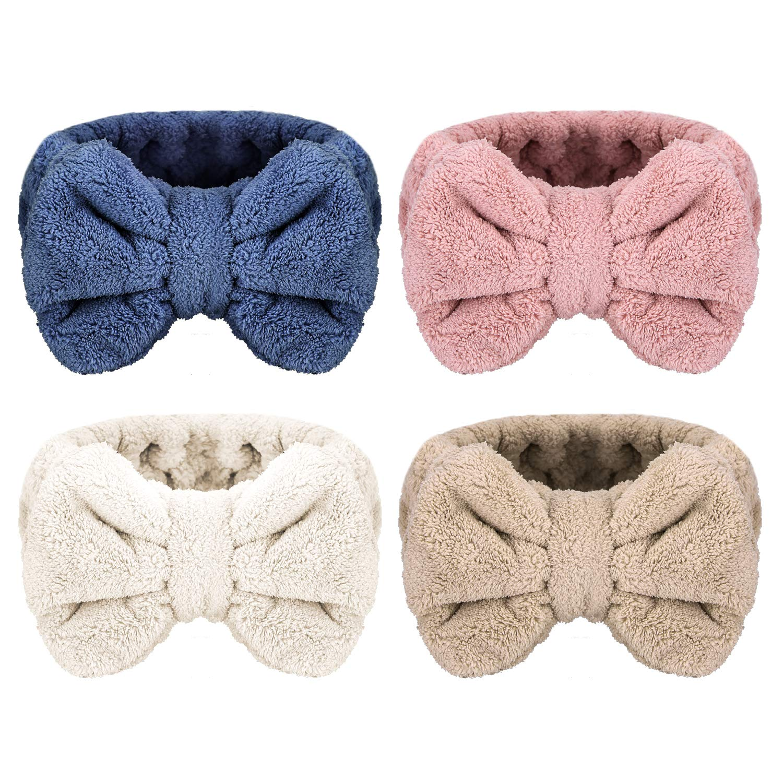 Senkary 4 Pack Microfiber Bowtie Headbands Soft Makeup Headbands Bow Hair Band Face Wash Spa Shower Headbands for Women and Girls (White, Blue, Pink, Brown)