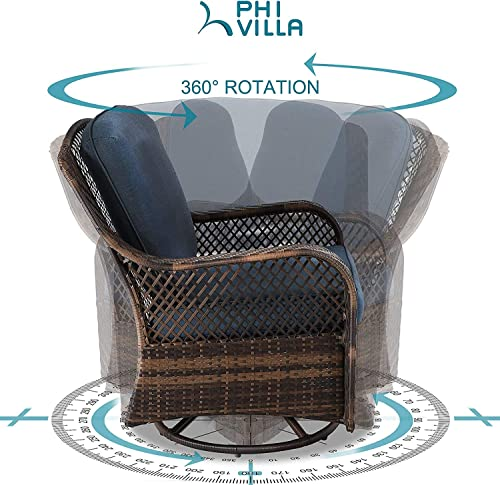 PHI VILLA Rattan Swivel Rocking Chairs 3 PC Patio Conversation Set