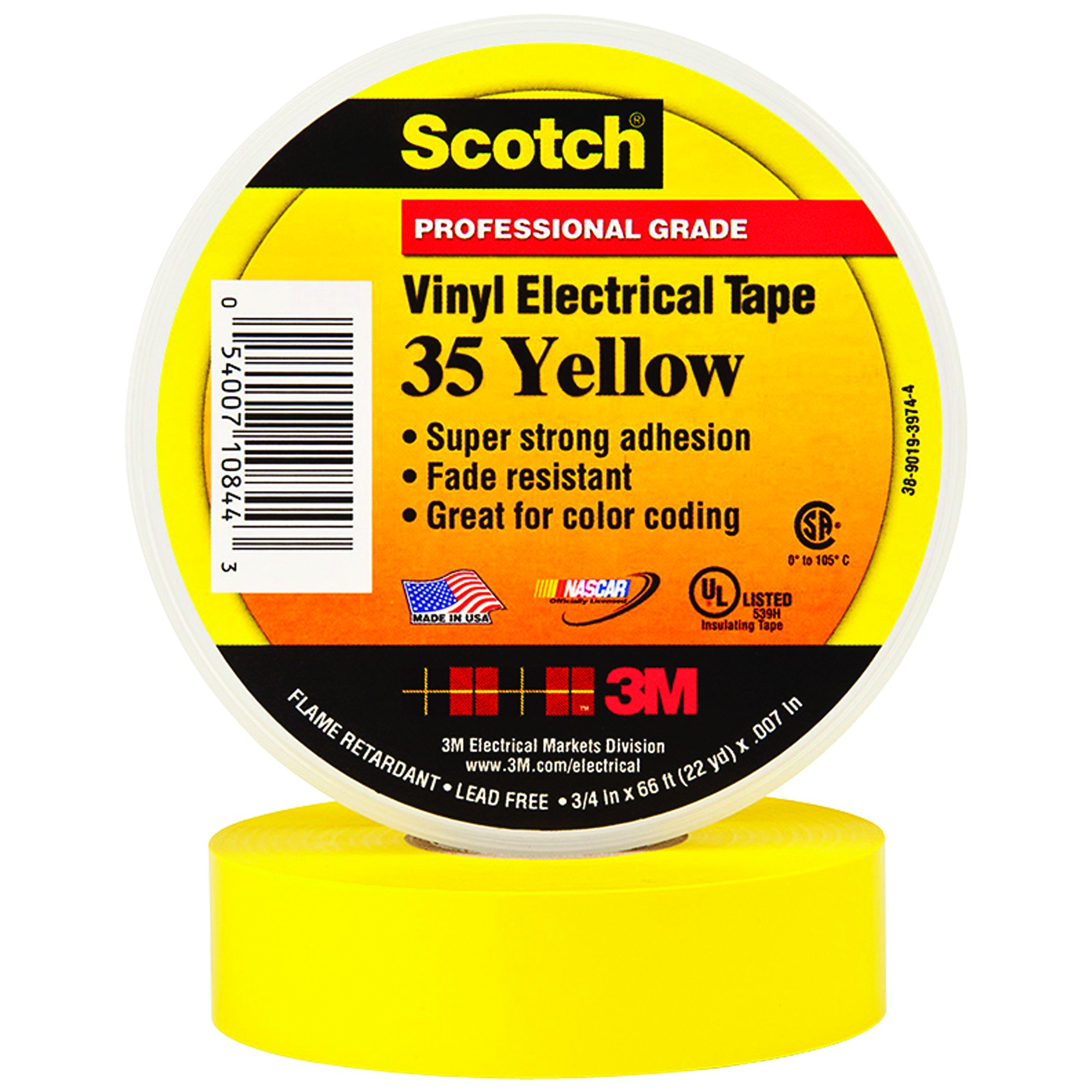 BOX USA BT964035Y Yellow 3M 35 Electrical Tape, 7 mil, 3/4'' x 66' (Pack of 100)