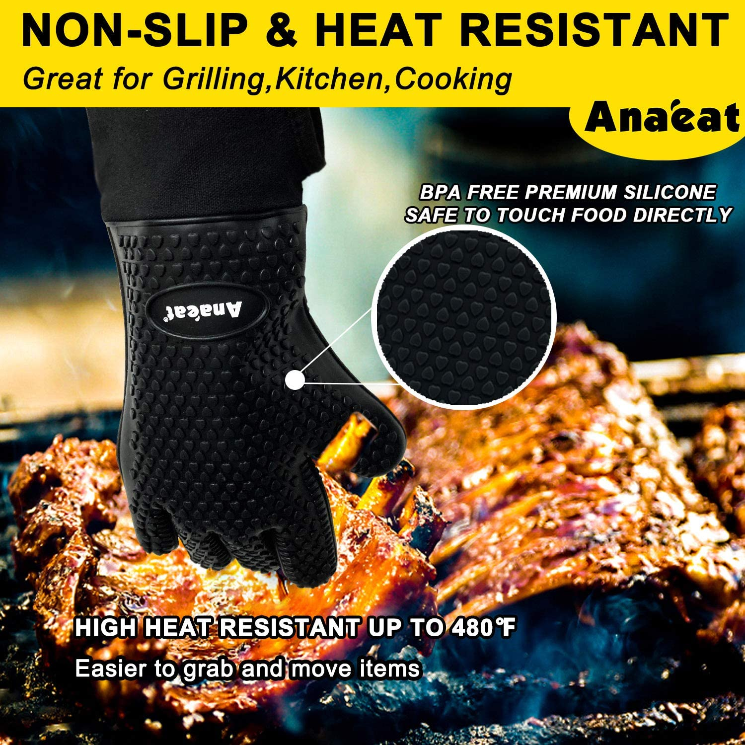 Silicone Oven Mitts Best Flexible Versatile Oven Gloves -100/% Cotton Lining Heat Resistant BBQ Grilling Gloves Waterproof Potholder for Cooking Black Baking-Thick Long Wrist Protection Barbecue