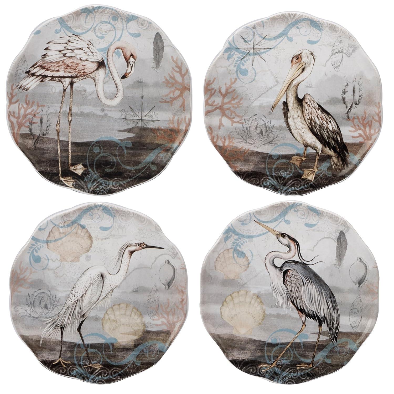 Set of 4 Multicolor 6 16061SET//4 Certified International Coastal View Canape Plates 6