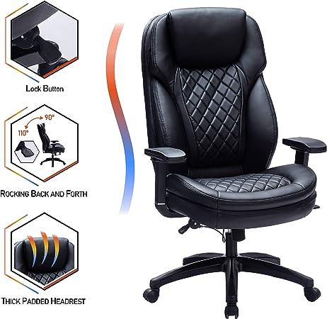Kasorix Chaise de Bureau exécutive en Cuir Respirant, Grande et Grande Chaise de Bureau PC Ergonomique Noire avec accoudoir réglable (noir 9107)