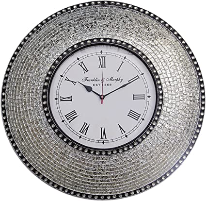 22.5u0026quot; Silver, Handmade Glass Mosaic Wall Clock, Quiet Motion Design By  DecorShore