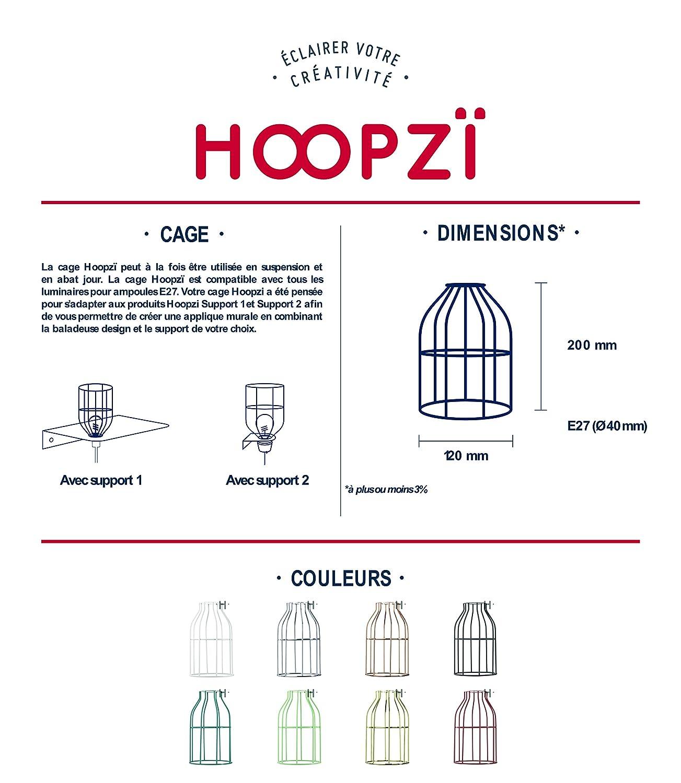Hoopzi /• Cage /• Abat Jour en Acier Laqu/é /• 8 Coloris /• Pour Suspension Luminaire ou Lampe Cr/éative /• Compatible Douille E27 /• Laiton