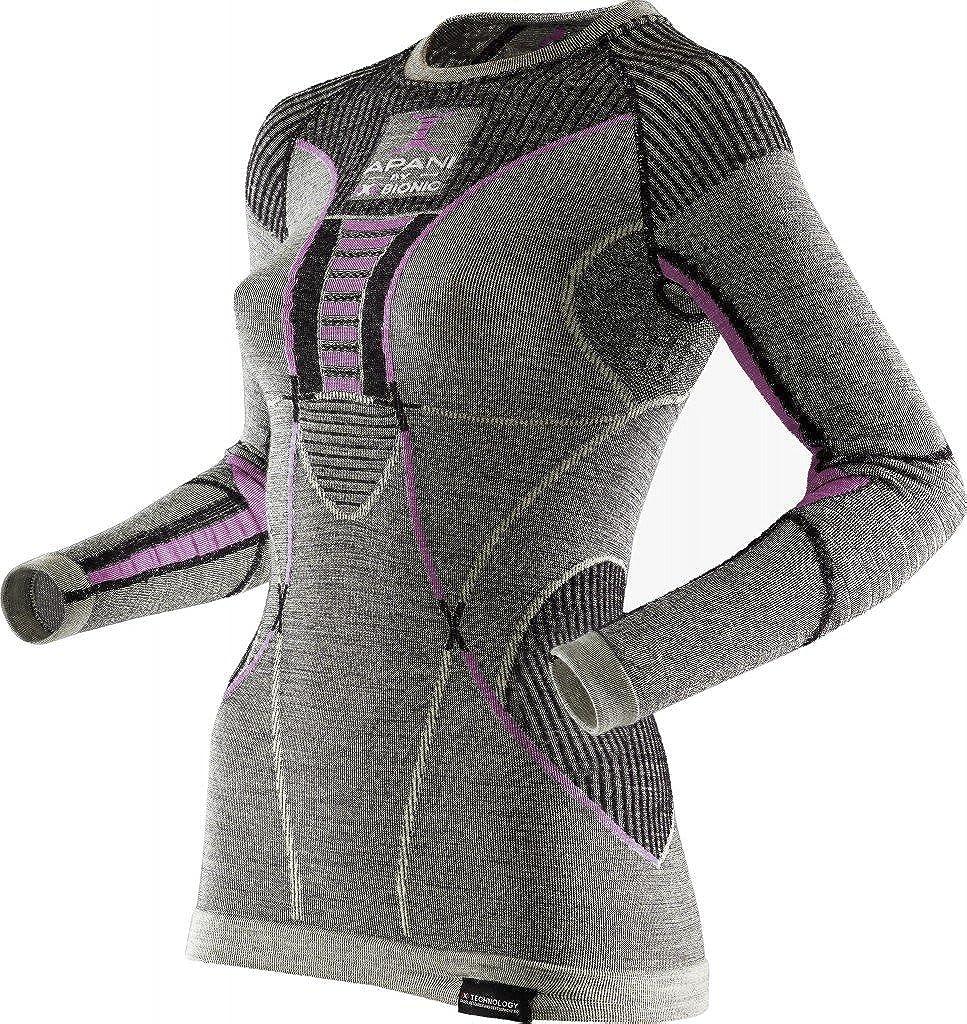 Nero//Grigio//Rosa L//L//XL Maglia Intima Termica Donna X-Bionic Apani Merino By UW LG-SL Roundneck