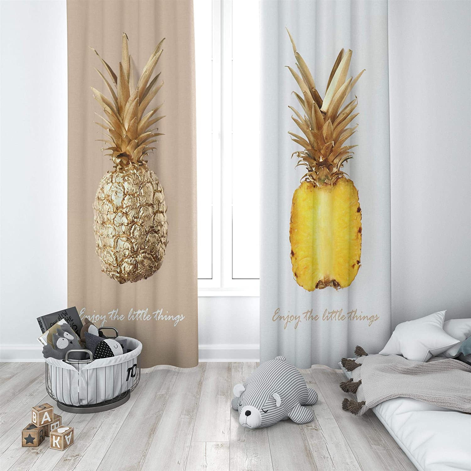 Factory4me Pineapple Curtains Fruit Print Rod Pocket Room Darkening Drapes 84 Inches Long Window Panels Set Of 2 For Living Room Bedroom Kitchen Dining Room Gold Yellow White Kitchen Dining