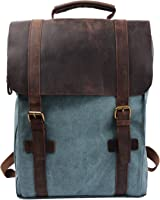 Back-to-School Sale- 33% OFF- S-ZONE Retro Canvas Leather School Travel Backpack Rucksack 15.6-inch Laptop Bag