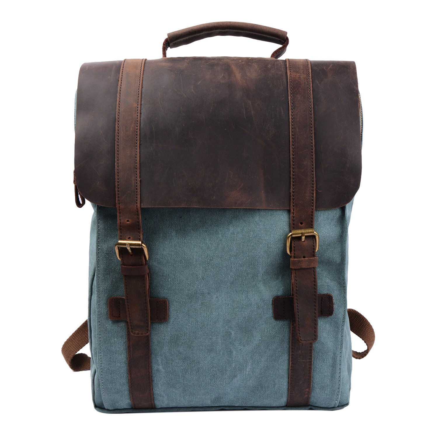Amazon.com  S-ZONE Retro Canvas Leather School Travel Backpack Rucksack  15.6-inch Laptop Bag  Clothing b6ab882e30e6d