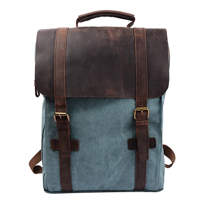 Image Unavailable. Image not available for. Color  S-ZONE Retro Canvas  Leather School Travel Backpack Rucksack 15.6-inch Laptop Bag 17d9315044