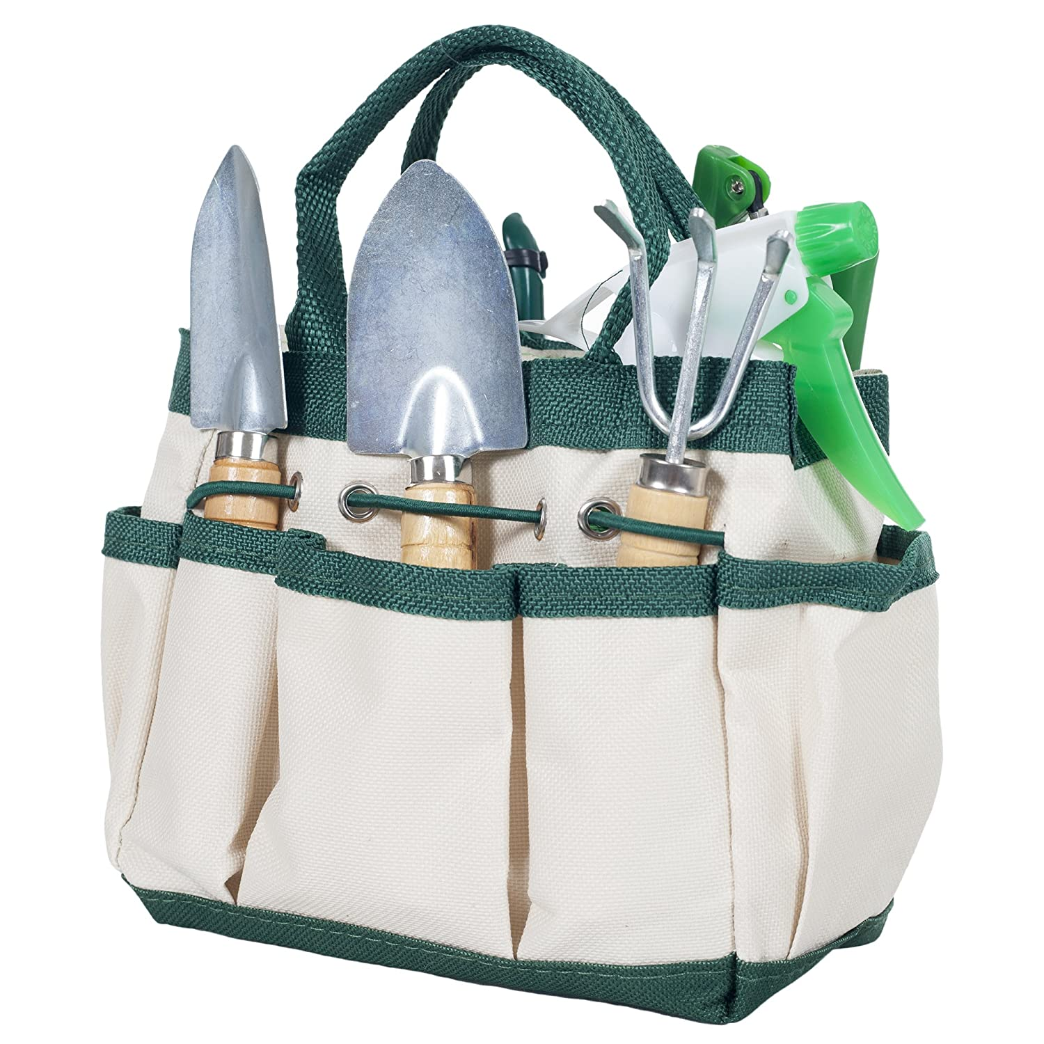 Pure Garden 7 Piece Gardening Tool Set – Mini Planting and Repotting Kit and Carrying Tote Bag Organizer for Succulents, Herbs, and Bonsai Plants