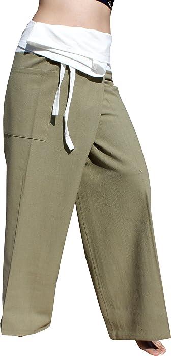 3faafe8e1fdb RaanPahMuang Brand Thick Cotton Two Tone Thailand Fisherman Wrap Pants Tall