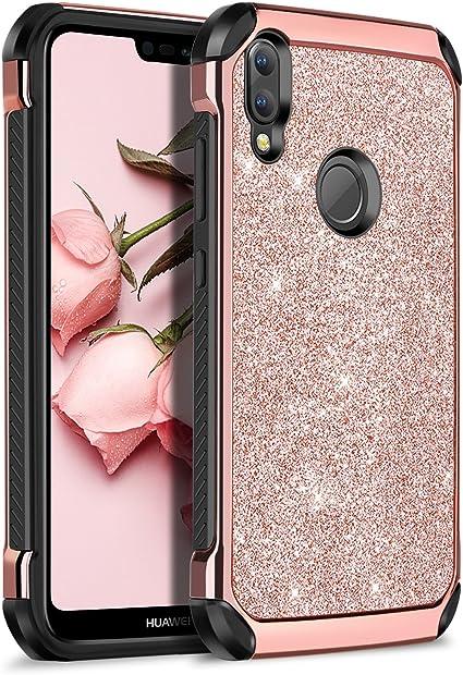 BENTOBEN Cover Huawei P20 Lite, Cover Antiurto Huawei P20 Lite, Donna Cellulare Bling Antiurto Doppio Strato Ibrida Duro PC Flessibile TPU Custodia ...