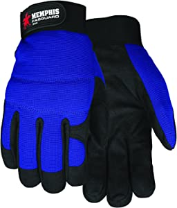 MCR Safety 905XL Fasguard Synthetic Leather Black Palm/Gray Patch Palm Multi-Task Gloves with Blue Back and Adjustable Wrist Closure, Blue/Black, X-Large, 1-Pair