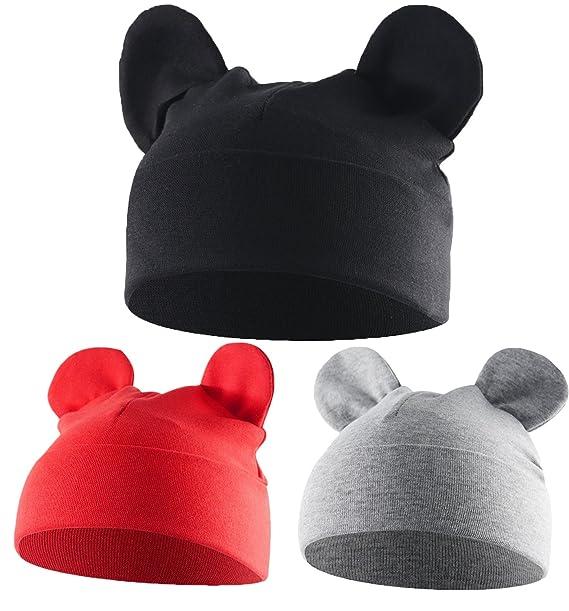 1486c8300f5 Unisex Baby Toddler Infant Hats Winter Warm Soft Beanie Kids Kawaii Sleep  Cap 3 Pack Baby