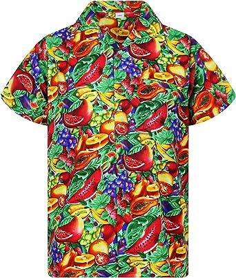 Original King Kameha | Funky Camisa Hawaiana Señores | XS-12XL | Manga Corta Bolsillo Delantero | Impresión de Hawaii | Tutti Frutti: Amazon.es: Ropa y accesorios
