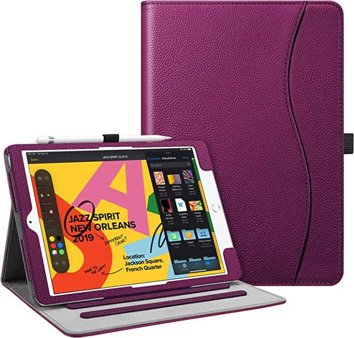 "Fintie Case for New iPad 7th Generation 10.2 Inch 2019 - [Corner Protection] Multi-Angle Viewing Folio Smart Stand Back Cover with Pocket, Pencil Holder, Auto Wake/Sleep for iPad 10.2"" 2019, Purple"