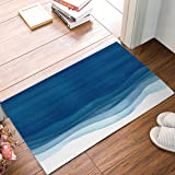 Olivefox Funny Waterproof Bathroom Doormat Home Decor Welcome Large Mat Entrance Way Indoor/Outdoor Carpet Floor Rugs 30x18 Inch, Blue Wavy Watercolor Background by