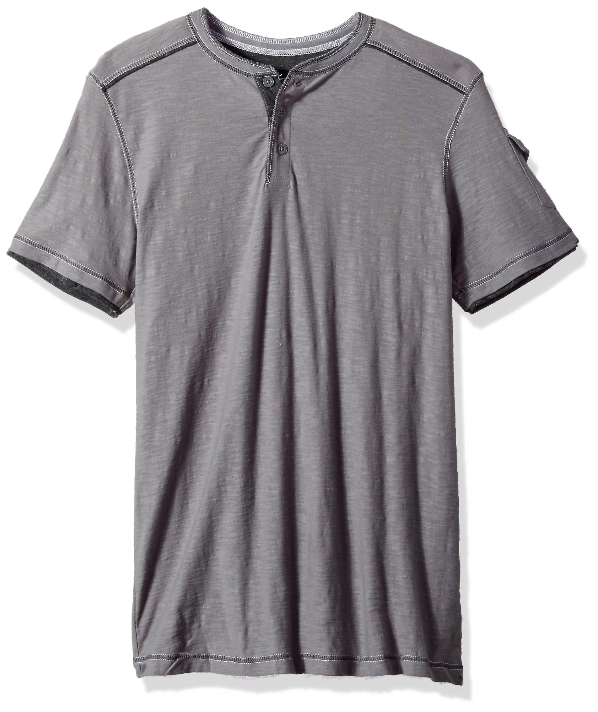 Modern Culture Men's Short Sleeve Henley Shirt, Pewter, Small
