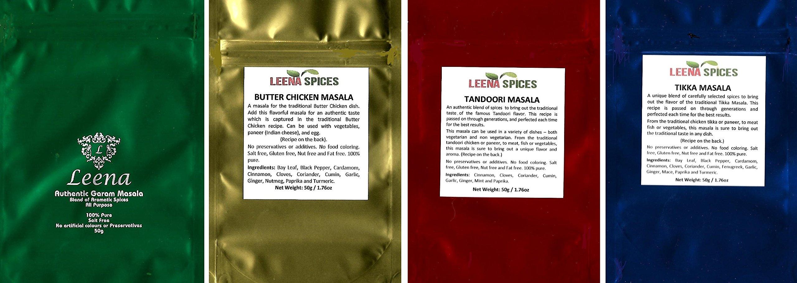 LEENA SPICES - Garam Masala, Butter Chicken Spice, Tandoori Masala Powder Seasoning And Tikka Marinade Blend Rub - 4 Indian Spice Pack