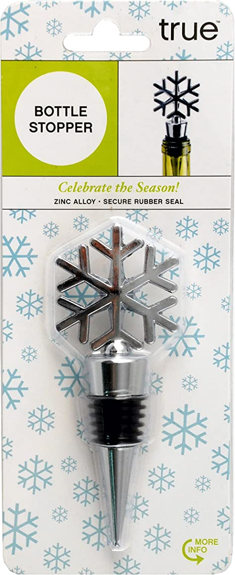 6 Point Snowflake Winter Silver Rhinestone Snowflake Holiday Wine Bottle Stoppers Wine Bottle Topper