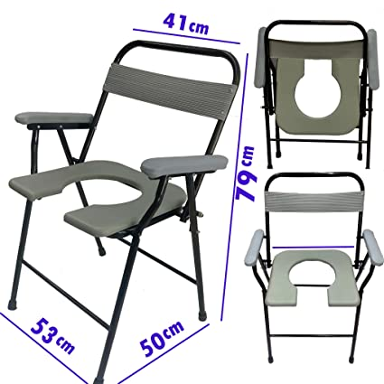 Viva Healthcare Supreme Heavy Duty Foldable Commode Chair With Front Cut