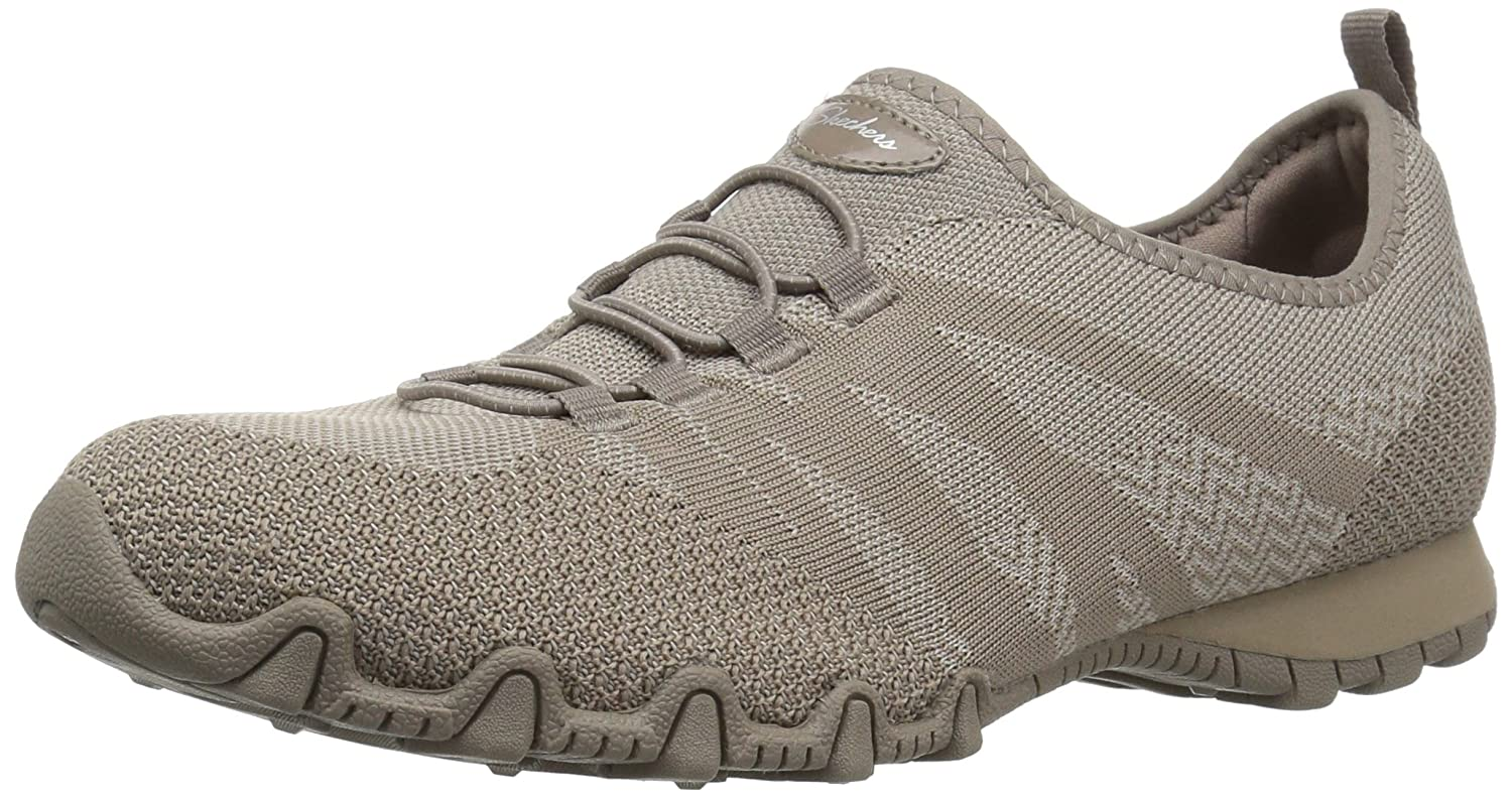 Skechers Women's Bikers-Knit Happens Sneaker B01N5DG7VY 10 B(M) US|Taupe