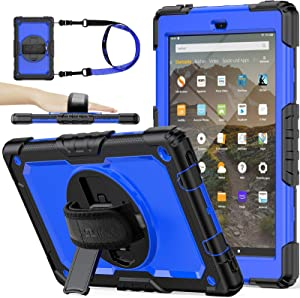 (NOT fit 11th 2021) SEYMAC stock Case for Fire HD 10 (9th/7th Generation 2019/2017) - (Blue+Black)