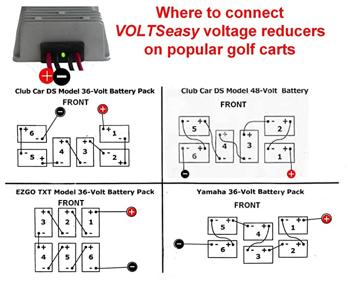 Amazon Tecscan Voltseasy Golf Cart Voltage Reducer For 36v 48v 20 240 Watt Sports Outdoors: Golf Cart Voltage Reducer Wiring Diagram At Outingpk.com