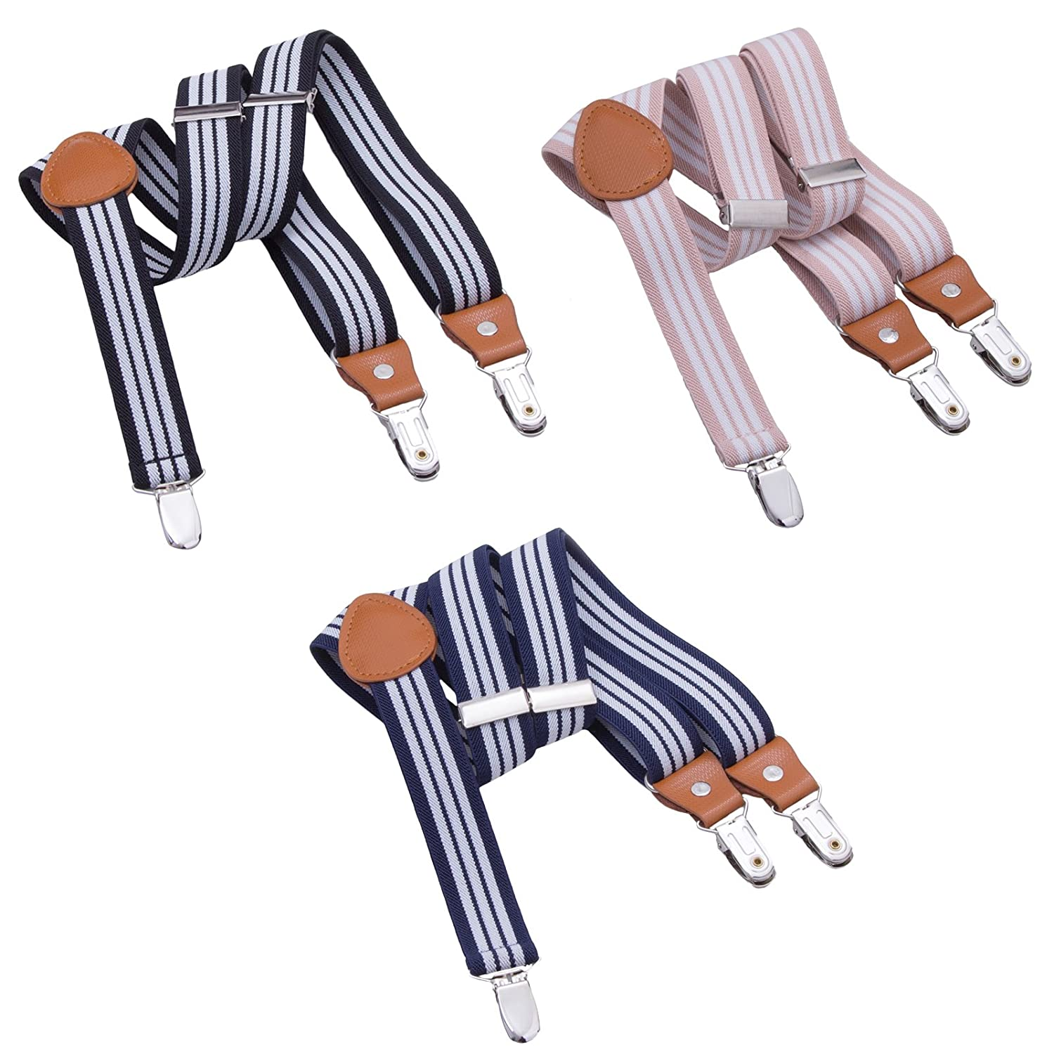 3PCS Kids Boys Mens Suspenders Sets - Adjustable Elastic Y Back Strong Clips Synthetic Leather Suspender (Navy Blue/Coffee/Grey, 23.6 Inch (7 Months - 3 Years)) Jerrybaby